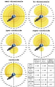 Diversi tipi di direzionalità implementata nella teconologia a doppio microfono. L'indice di direzionalità è definito come il rapporto tra potenza di uscita del segnale utile proveniente da davanti e potenza media di uscita del rumore proveniente da tutte le direzioni.